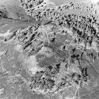 Oblique aerial view centred on the remains of the fort and possible cairn, taken from the SE.