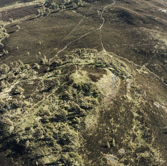 Oblique aerial view centred on the remains of the fort and possible cairn, taken from the wNW.