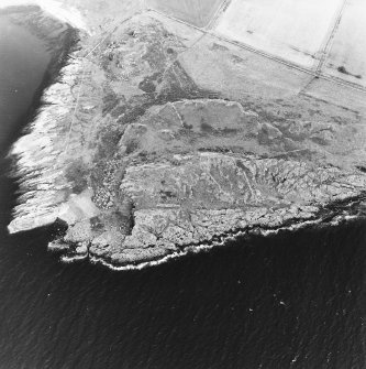 Oblique aerial view centred on the remains of the fort and rig with fort adjacent, taken from the SW.