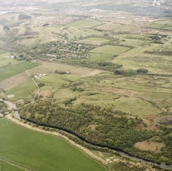 Oblique aerial view centred on the Antonine Wall at Croy Hill, with the Forth and Clyde Canal nearby, taken from the WNW