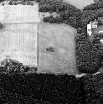 Oblique aerial view of Bo'ness, Kinneil, centred on the cropmarks of the Antonine Wall with a church and tower-house adjacent, taken from the SSE.