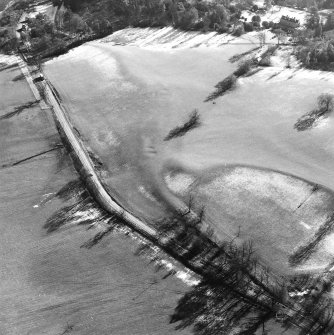 Castle Craig, oblique aerial view, taken from the NNW, showing the traces of an old road running up the centre of the photograph.