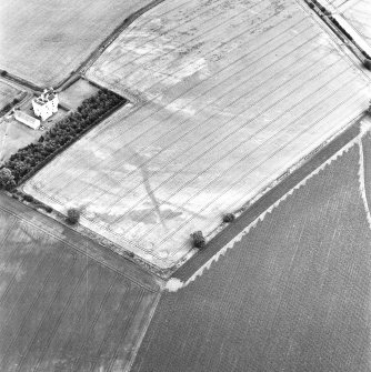West Mains, oblique aerial view, taken from the WSW, centred on linear cropmarks. Falside Castle is visible in the centre left of the photograph.
