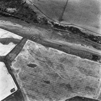 Aerial view of Caddonlee fort, and where the finds of a glass armlet, quern stone and spindle whorl were found.