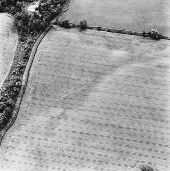 Linthill, oblique aerial view, taken from the NW, centred on linear cropmarks.