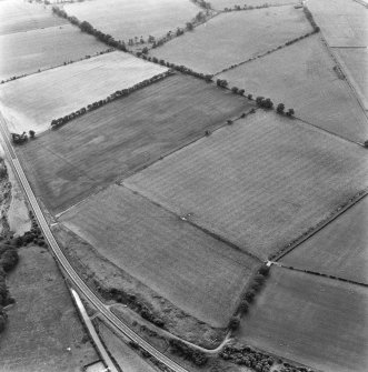 St Leonard's Hill, oblique aerial view, taken from the NE, centred on the cropmarks of the NE side of a Roman Temporary Camp.
