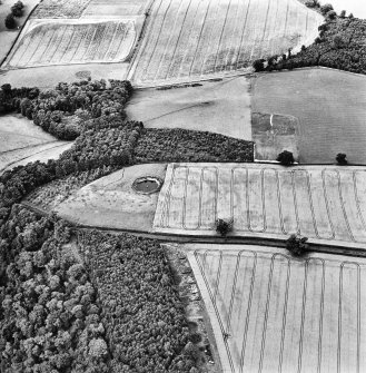 Oblique aerial view centred on the pond and cropmarks of the fort and settlement, taken from the SE.