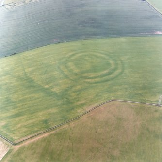 Oblique aerial view centred on the cropmarks of the fort with field boundaries and  cropmarks adjacent, taken from the WSW.