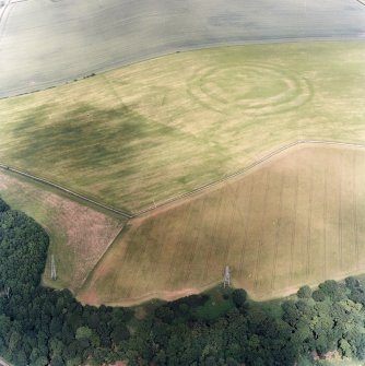 Oblique aerial view centred on the cropmarks of the fort, field boundaries and cropmarks, taken from the WSW.