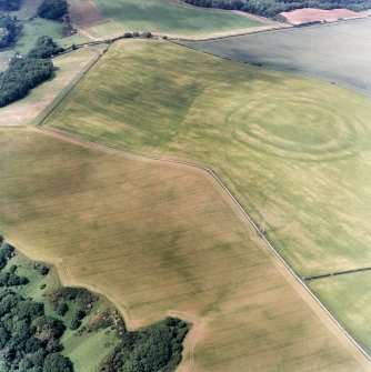 Oblique aerial view centred on the cropmarks of the fort, field boundaries and cropmarks, taken from the S.