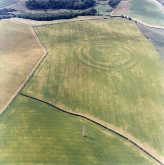 Oblique aerial view centred on the cropmarks of the fort, field boundaries and cropmarks, taken from the SE.