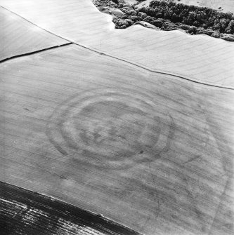 Oblique aerial view centred on the cropmarks of the fort, taken from the N.