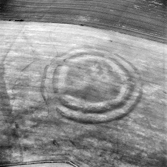 Oblique aerial view centred on the cropmarks of the fort with field boundaries and  cropmarks adjacent, taken from the SW.