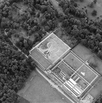 Oblique aerial view of Floors Castle, Formal Garden centred on the formal garden, taken from the W.