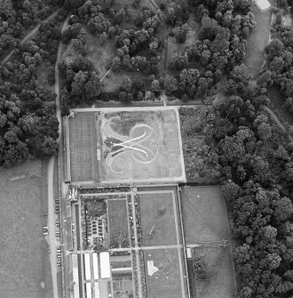 Oblique aerial view of Floors Castle, Formal Garden centred on the formal garden, taken from the SW.