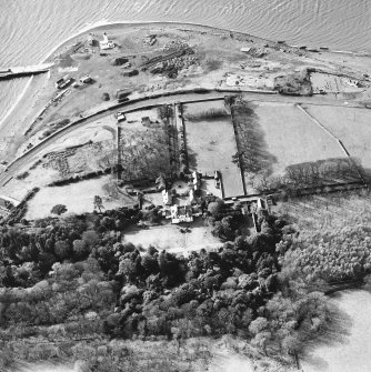Aerial view of Lochryan House, the military headquarters, the light house, the military railway and ship yard, and the church and burial ground. View taken from the ENE.