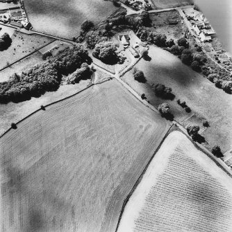 Oblique aerial view, taken from the NNW, centred on the tower-house.