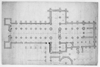 "Photographic copy of plan of Reconstruction of Holyrood Abbey. Signed ""J. Watson Architect.  27 Rutland Street""  u.d."