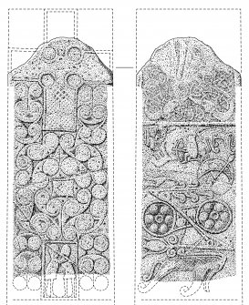 Ink drawing of Glenferness cross slab