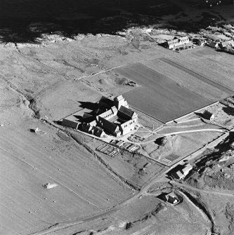 Oblique aerial view of Iona Abbey, taken from the north west, centred on the abbey.