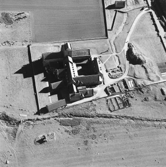 Oblique aerial view of Iona Abbey, taken from the north, centred on the abbey.