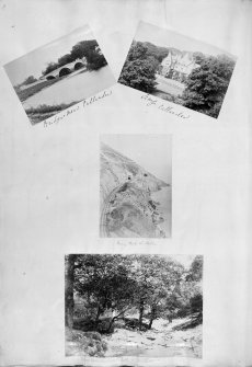 Four album photographs showing Bridge near Callander; Leny Callander; Bray Head West Dublin and Below Power Coil Waterfall County Wicklow.  PHOTOGRAPH ALBUM NO.60: MISS MURRAY'S ALBUM