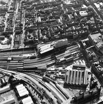 Aberdeen City Centre, oblique aerial view, taken from the E, centred on the Joint Railway Station.
