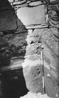 Excavation photograph: Broch trench - showing broch and wheel house floors overlying windblown sand.