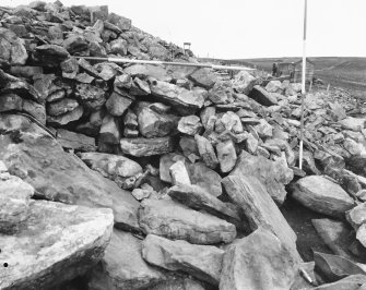 Camster, Long - Excavation of the SW forecourt, 'chamber X', horns C and D, and the NW wall  18 plates of the SW forecourt, horns C and D, and the NW revetment between 8 - 20m N: Plates 1-2: SW forecourt with the blocking in place (stage 2). Plate 3: 2 negatives of the SW forecourt with the blocking in place (stage 2). Plate 4: 3 negatives of the putative N wall of the passage to 'chamber X'. Plate 5: 2 negatives of horn C and the extra revetment on the SE wall. Plate 6: 2 detailed negatives of horn C and the extra revetment on the SE wall. Plate 7: 2 negatives of horn D and the extra revetment on the NW wall. Plate 8-9: 4 negatives of the extra revetment to the W of horn D. Plate 10: 2 detailed negatives of the slipped NW wall between 10 - 11m N. Plate 11-12: 4 negatives of the NW extra revetment between 7 - 12m N. Plate 13-14: NW extra revetment between 8 - 12m N. Plate 15-16: 5 negatives of the collapsed NW revetment wall and thw cairn between 15 - 20m N. Plate 17: 2 negatives of Camster Round.