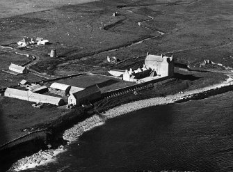 Aerial photograph of Freswick Castle, dovecot and mausoleum.