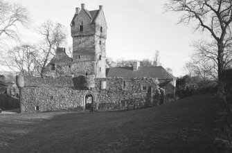 General view of Mains Castle, Caird Park, Dundee.
