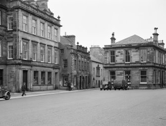 General view of the High Street, Haddington, including Carlyle House and The British Linen Bank.