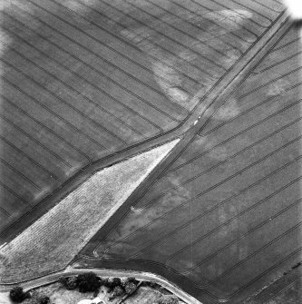Balcathie, oblique aerial view, taken from the N, centred on the cropmarks of two pit-alignments, and showing further cropmarks including those of an enclosure in the top right-hand corner of the photograph.