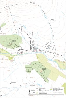 Map showing archaeological landscape around Hermitage Castle and Tofts Knowes, Liddesdale