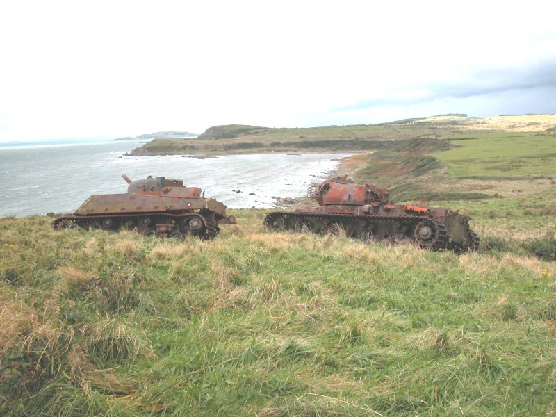 View of hulks of Conqueror and Sherman Tanks from the E