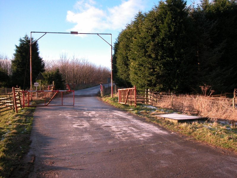 Entrance to Doon Hill from N with concrete base for guard hut to W