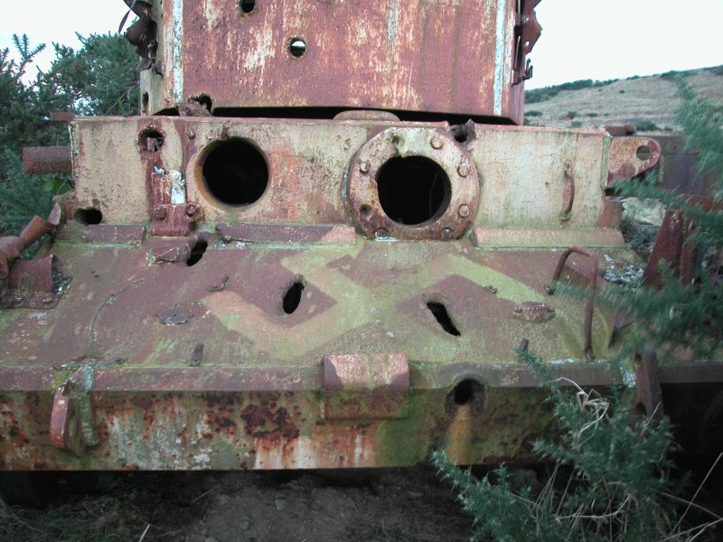 Front view of Comet Tank with swastika daubed on it