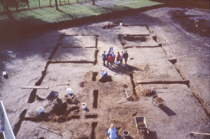 Excavation digital photograph: High level view of hospital building at Doune Roman Fort during excavation