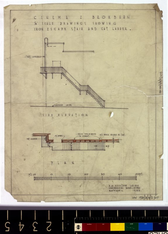 Elevation and plan showing iron escape stair and cat ladder.