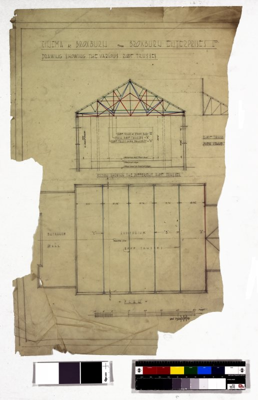 Plan and section showing various roof trusses.