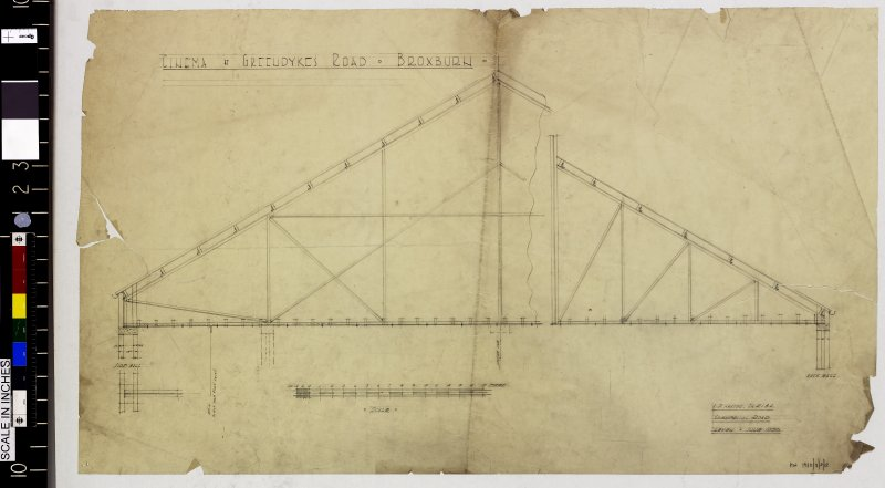 Section showing roof trusses.