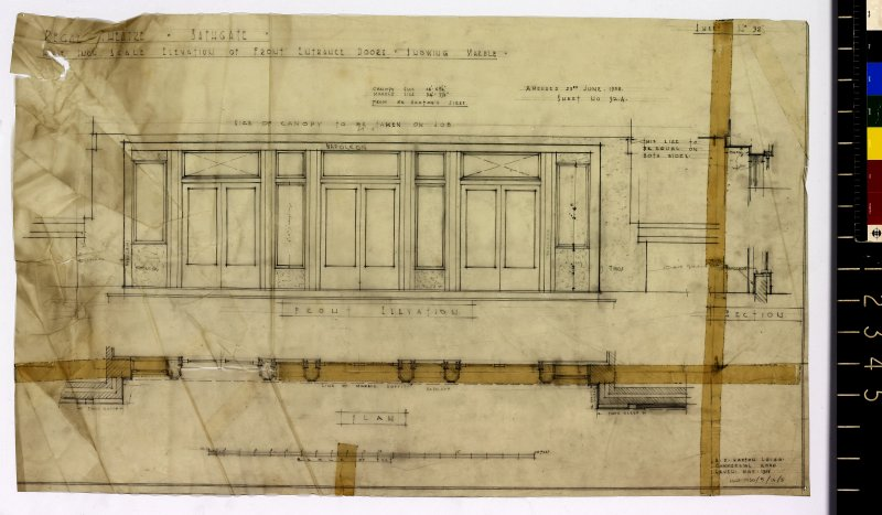 Elevation of front entrance doors showing marble.