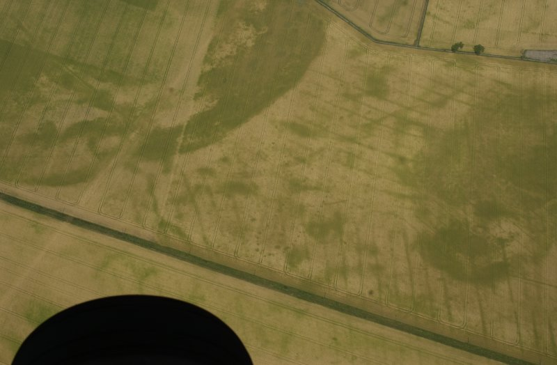 Oblique aerial view of the cropmarks of pit-defined cursus, pits and rig taken from the SE.