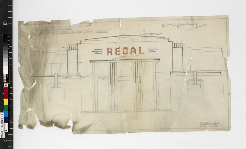 Details of front showing proposed neon lighting. Drawing before conservation.