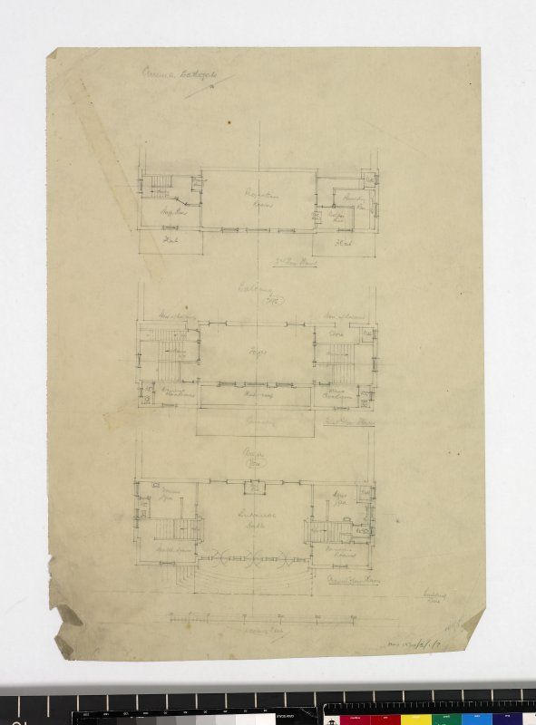 Floor plans of ground, first and second floors.