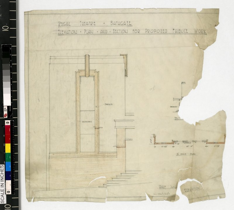 Elevation, plan and section for proposed faience work.