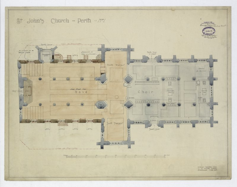 Copy of Plan, in colour, of St John's Church, Perth, 1923, Lorimer and Matthew collection.