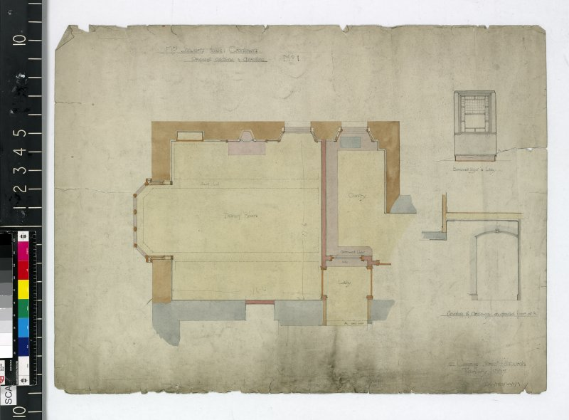 Floor plans and elevation of archway.