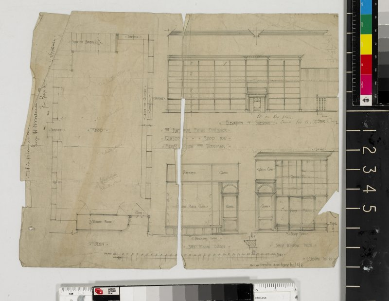 Plans, sections and elevations with details of shop window.
