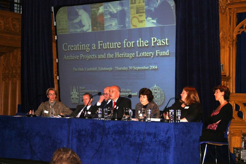 'Creating a Future for the Past', The Hub, Castlehill, Edinburgh.  All speakers on stage at the discussion session.